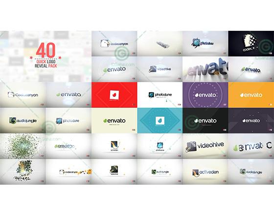 40款以简约设计为主的快速标志演绎AE模