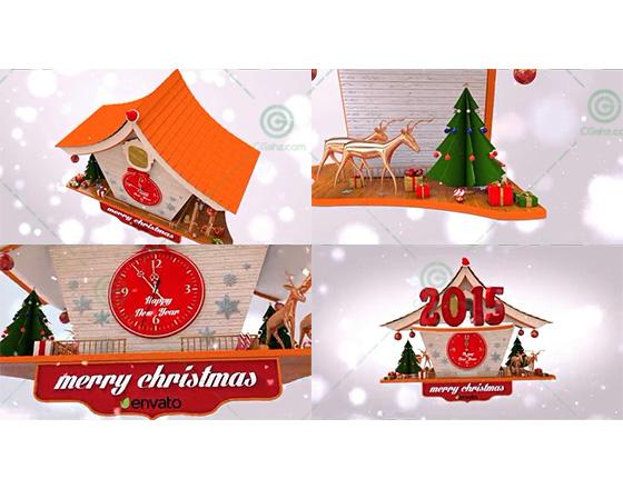 雪花飘飞中温馨的圣诞卡通小屋跨年倒计时AE模板
