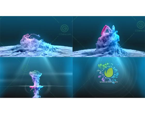 唯美的粒子漩涡升腾幻化出logo标志AE模板
