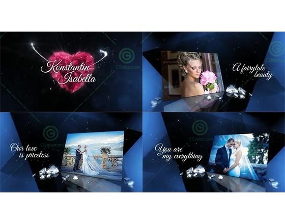 钻石主题的闪耀婚礼图文展示AE模板