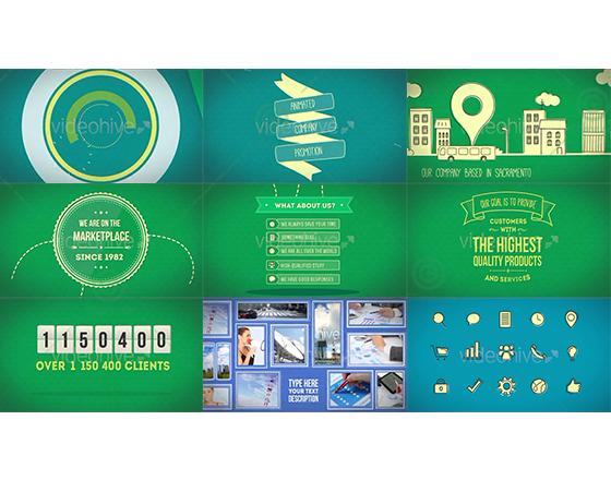 复古风格商务公司宣传推广MG动画AE模板
