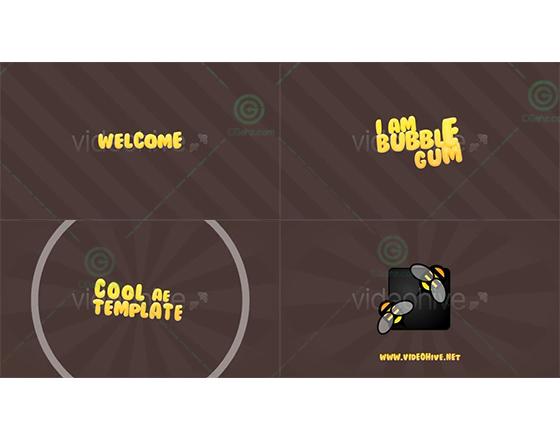 可爱新颖的泡泡糖标题展示开场AE模板