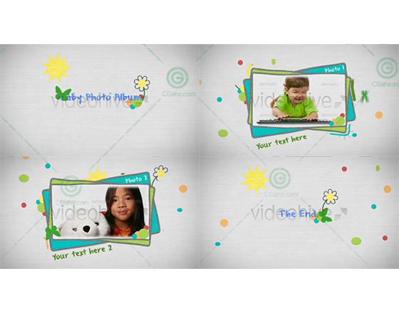 欢乐的儿童节/生日卡通手绘相册AE