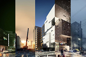 日景,雪景,清晨,夜景,黄昏,五种效果建筑