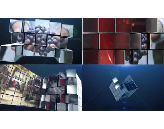 三维立方体样式的转场展示包装片头AE模板