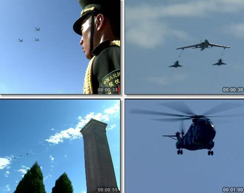 飞机飞过天空视频片段