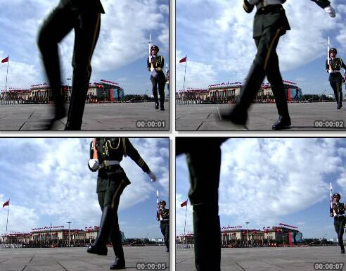 军人整齐的行走视频片段