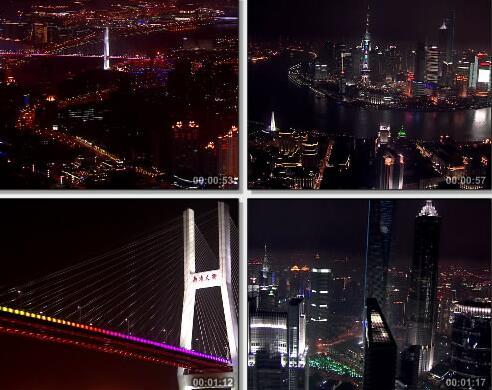 上海城市夜景视频片段
