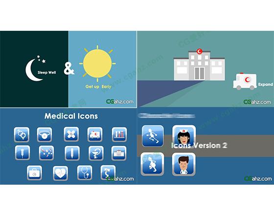 医疗元素MG图形动画模板免费下载