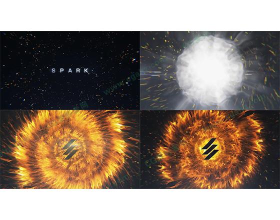 炫丽的星空下大爆炸引出LOGO展示AE模板