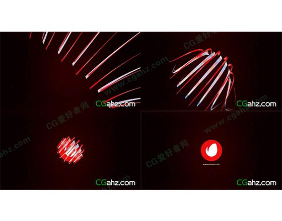 红白色飘带环绕组合成LOGO AE模板