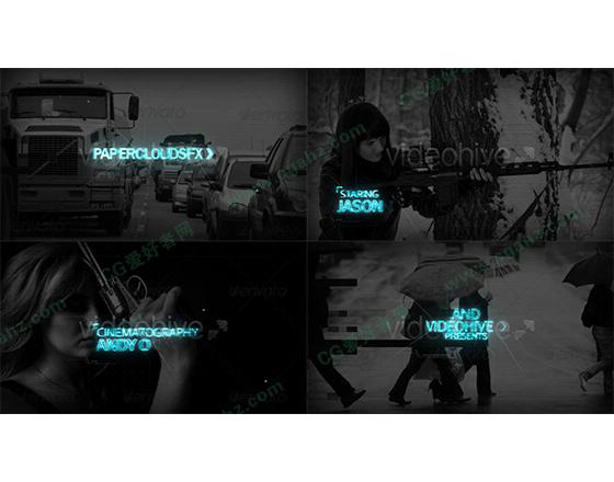 黑白紧张压抑的动作预告片剪辑特效模板