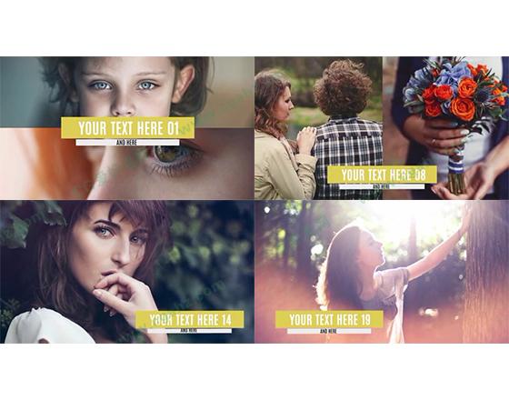 时尚转场图片展示及简洁的字幕条说明相册模板