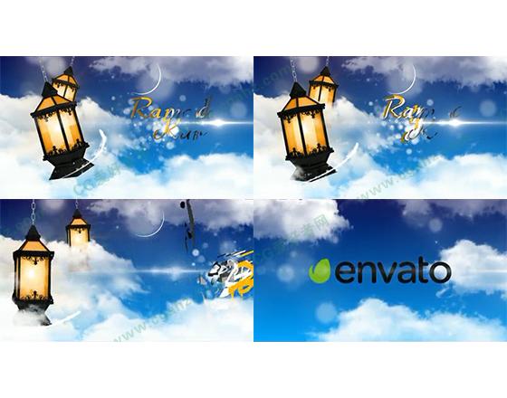 蓝天白云中的字幕片头展示AE模板
