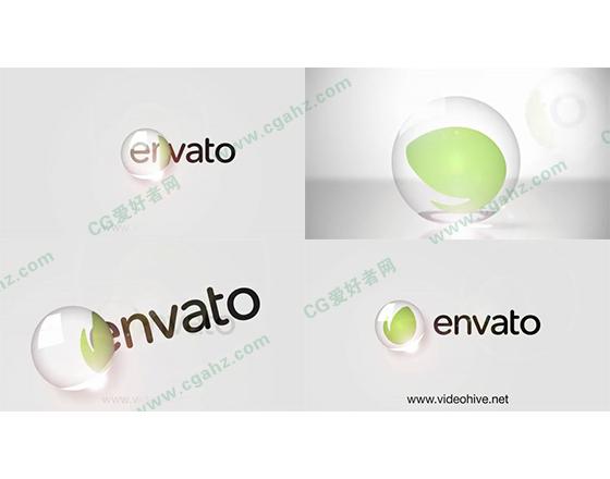 2款明亮水晶球滚动引出LOGO的AE模板