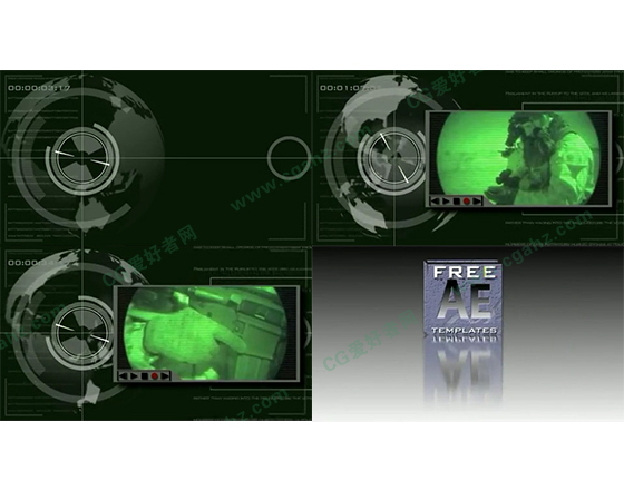 军事科技风格的雷达画面特效展示模板