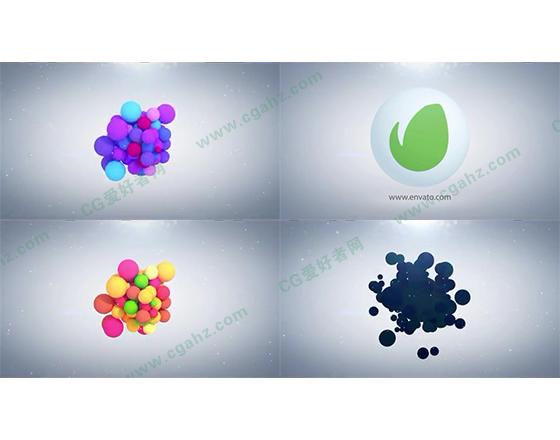 彩色小球堆聚揭示出标志的AE模板,3色入