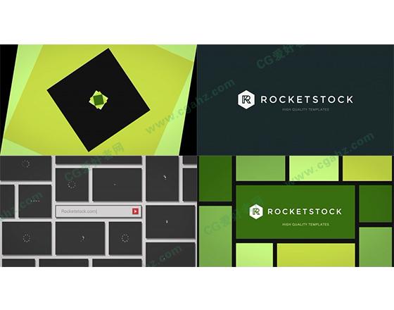 动态方块图形转换中的搜索和标志展示AE模板