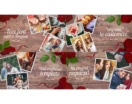 玫瑰花瓣包围着的浪漫爱情回忆相册AE模板