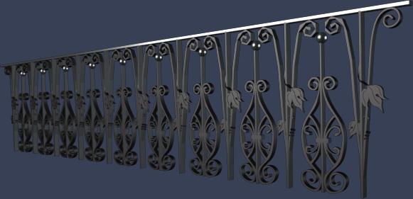 欧式铁艺栏杆模型