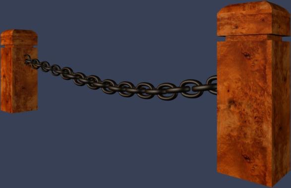 木桩铁链栏杆