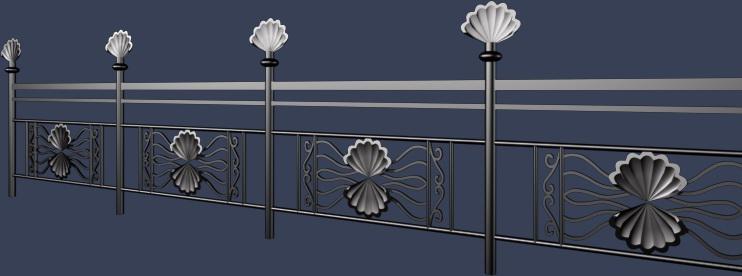 贝壳状铁艺栏杆模型