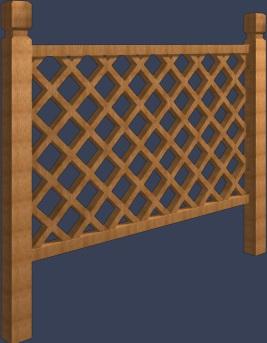 网状木栏杆模型