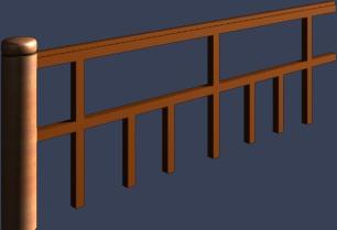 简洁木栏杆模型