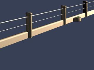 低矮河边护栏模型