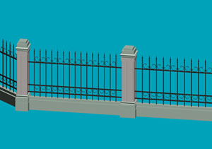 常用的小区围墙模型下载