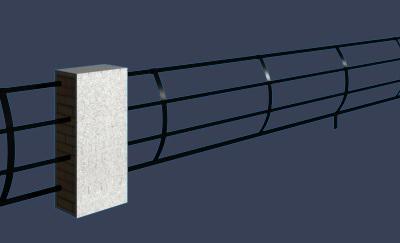 简易石墩铁艺护栏模型