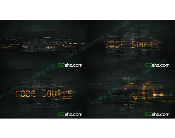 代码形成文字标题AE模板