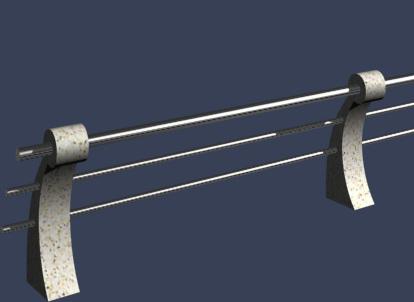 弧形河道护栏3D模型