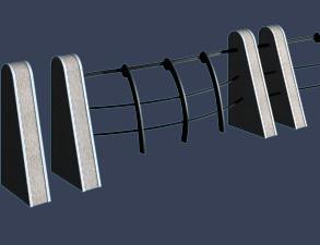 低矮的河堤护栏模型
