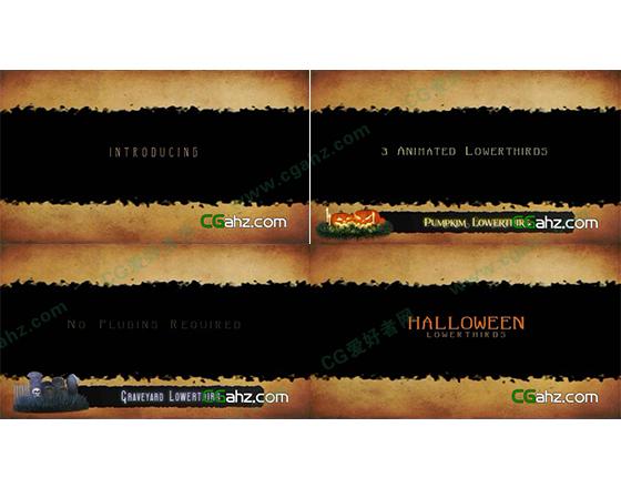 万圣节为主题的黄色背景字幕AE模板