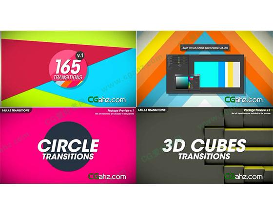 多彩的转场过渡动画素材AE模板