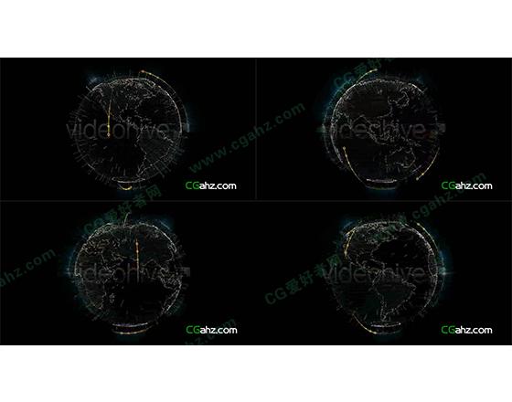 科幻风格的旋转地球AE模板