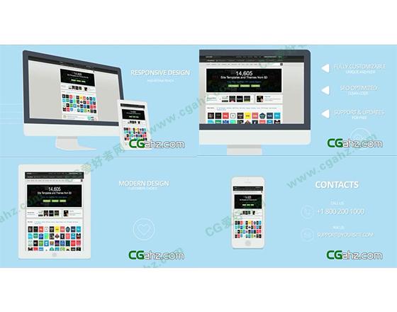 干净简约的网站,APP宣传展示AE模板