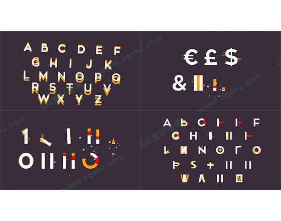 充满缤纷活力的图形字体动画AE模板