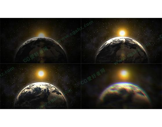 从太空中看地球旋转AE模板