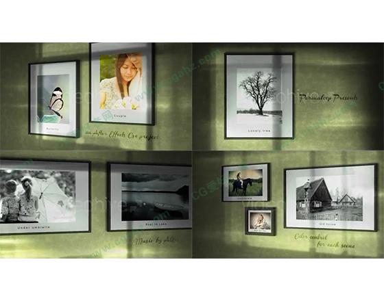 绿色墙壁上的相框组合展示AE模板
