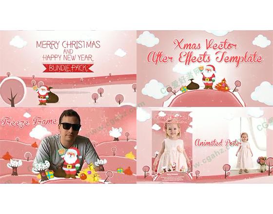 活泼可爱的卡通圣诞节栏目主题AE模板