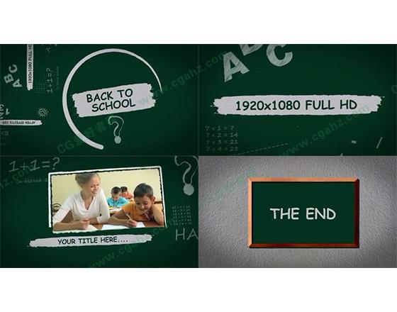 黑白上的视频文字展示AE模板