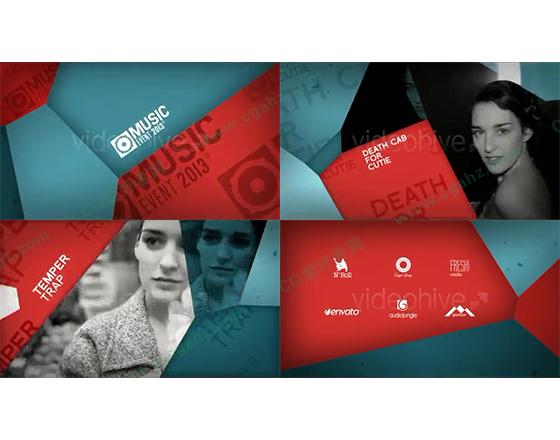 图形拼接音乐节宣传片AE包装模板