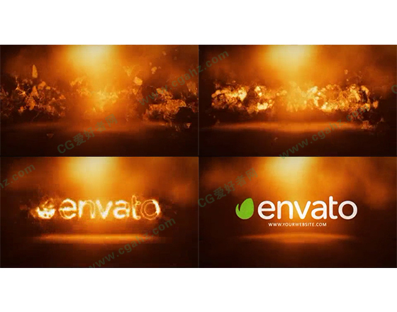 震撼的火焰汇聚燃烧标志开场AE模板