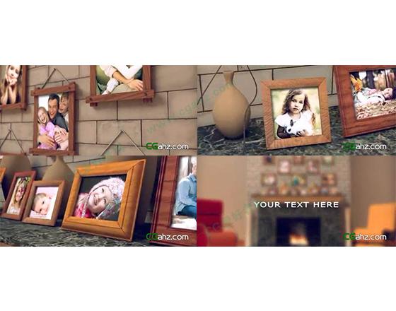 温暖壁炉上的家庭纪念相册AE模板