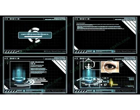 未来科技屏幕操作界面元素动画AE模板
