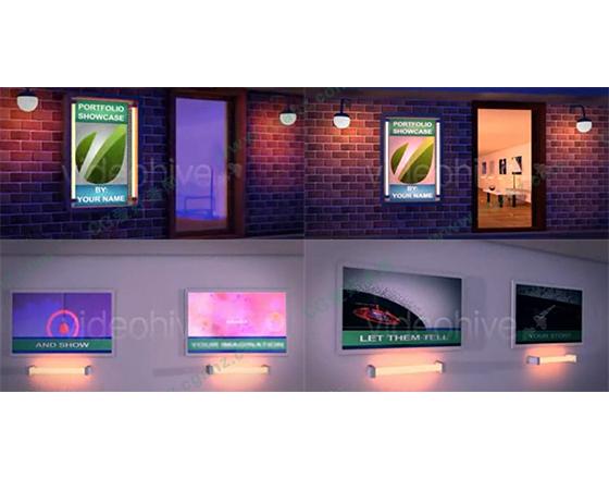 三维画廊空间展示效果AE模板