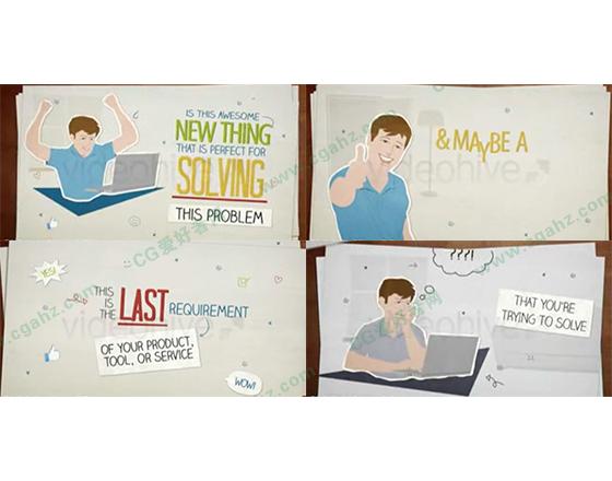 卡通人物手写纸张风格宣传动画AE模板