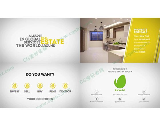 文字排版和内容展示动画的商务宣传AE模板